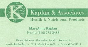 Business Card for MaryAnne Kaplan